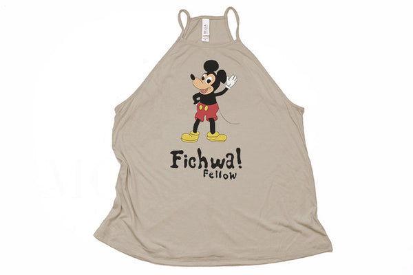 Fichwa! Fellow Wall High Neck Tank - Crazy Corgi Lady Designs - Unique Disney Themed Shirts