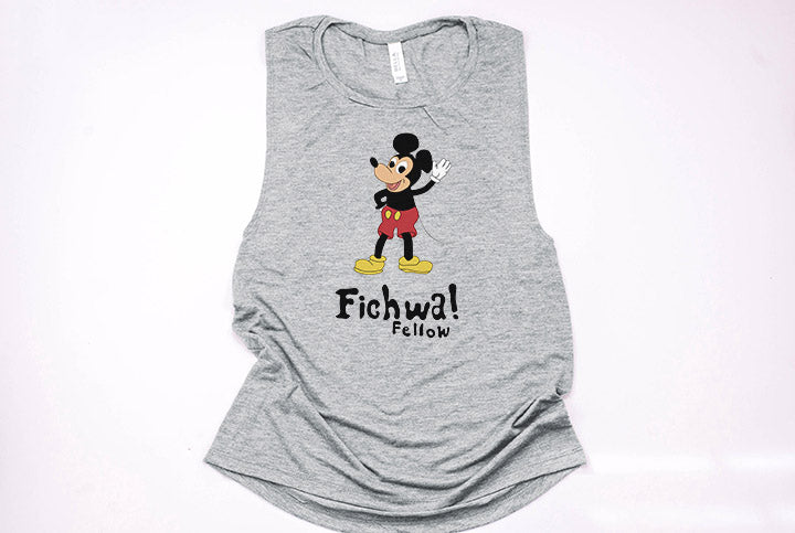 Fichwa Fellow Wall Muscle Tank - Crazy Corgi Lady Designs - Unique Disney Themed Shirts