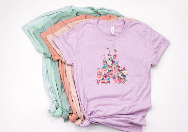 Floral Castle Tee - Crazy Corgi Lady Designs - Unique Disney Themed Shirts