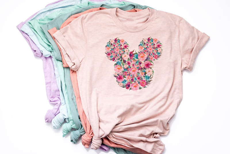 Floral Mickey Tee - Crazy Corgi Lady Designs - Unique Disney Themed Shirts