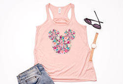 Floral Mickey Racerback Tank Top - Crazy Corgi Lady Designs