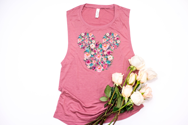 Floral Mickey Muscle Tank - Crazy Corgi Lady Designs