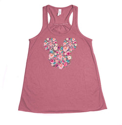 Floral Mickey Youth Racerback Tank Top - Crazy Corgi Lady Designs