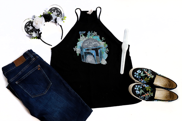 Jango Fett Floral High Neck Tank - Crazy Corgi Lady Designs - Unique Disney Themed Shirts