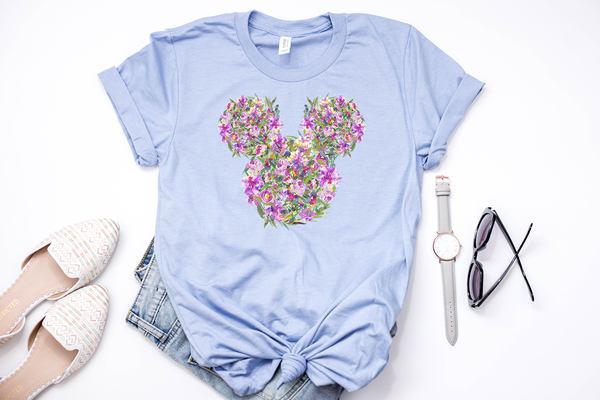 Lilac Floral Mickey Tee
