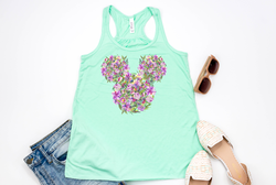 Lilac Floral Mickey Racerback Tank Top