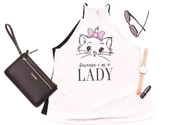 "Marie ""Because I'm a Lady"" High Neck Tank - Crazy Corgi Lady Designs"