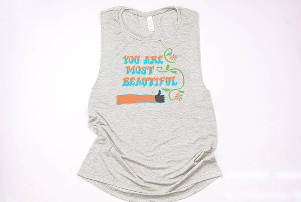 You Are Most Beautiful Wall Muscle Tank - Crazy Corgi Lady Designs - Unique Disney Themed Shirts