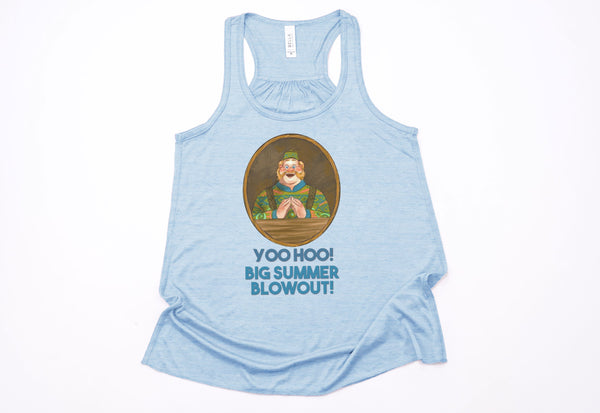 "Wandering Oaken's Trading Post ""Big Summer Blowout"" Racerback Tank Top - Crazy Corgi Lady Designs"