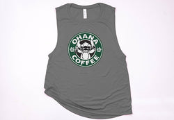 Ohana Coffee Muscle Tank - Crazy Corgi Lady Designs
