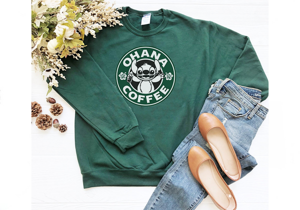 Ohana Coffee Sweatshirt - Crazy Corgi Lady Designs - Unique Disney Themed Shirts