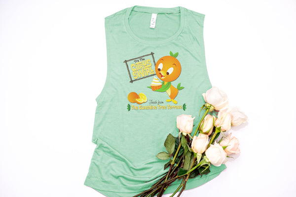 Orange Bird Citrus Swirl Muscle Tank - Crazy Corgi Lady Designs