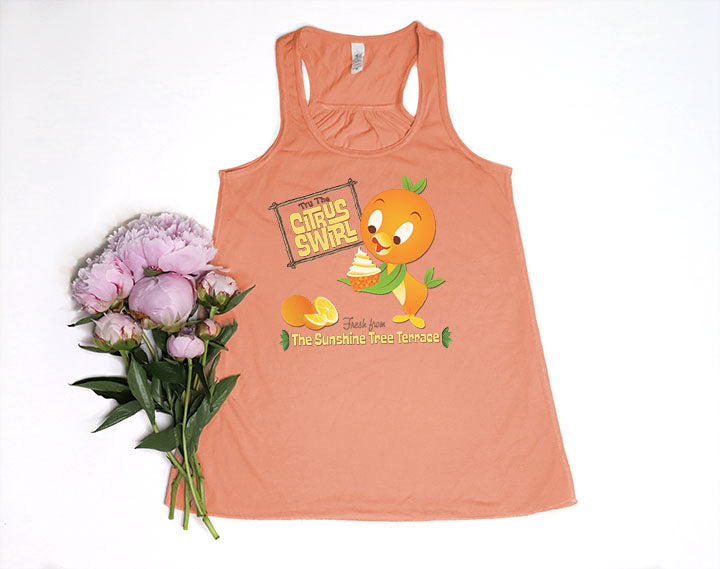 Orange Bird Citrus Swirl Racerback Tank Top - Crazy Corgi Lady Designs