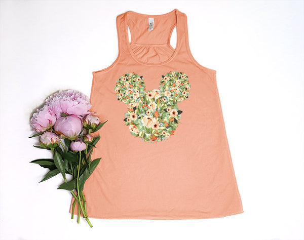 Fall Orange Floral Mickey Racerback Tank Top - Crazy Corgi Lady Designs