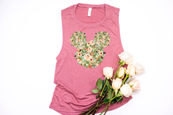 Fall Orange Floral Mickey Muscle Tank - Crazy Corgi Lady Designs