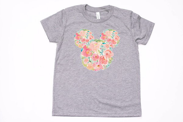 Watercolor Floral Mickey Youth T-Shirt - Crazy Corgi Lady Designs - Unique Disney Themed Shirts