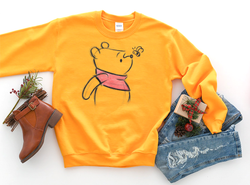Winnie The Pooh Sketch Sweatshirt - Crazy Corgi Lady Designs - Unique Disney Themed Shirts
