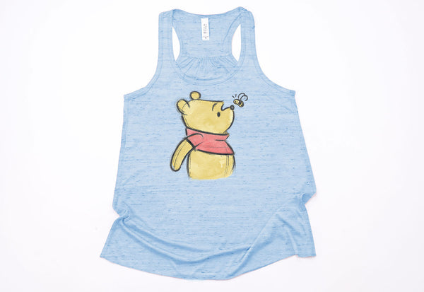Winnie the Pooh Sketch Racerback Tank - Crazy Corgi Lady Designs - Unique Disney Themed Shirts