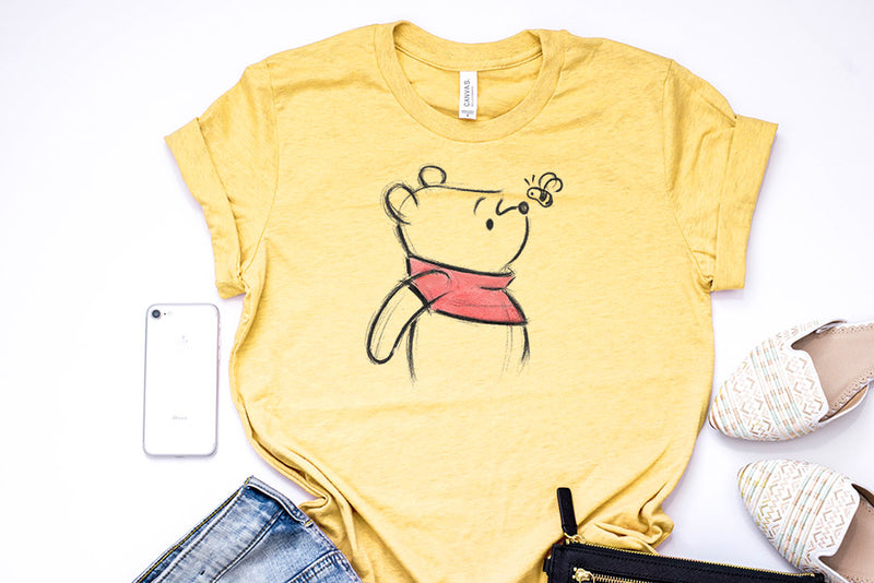 Winnie The Pooh Sketch Unisex Tee - Crazy Corgi Lady Designs - Unique Disney Themed Shirts