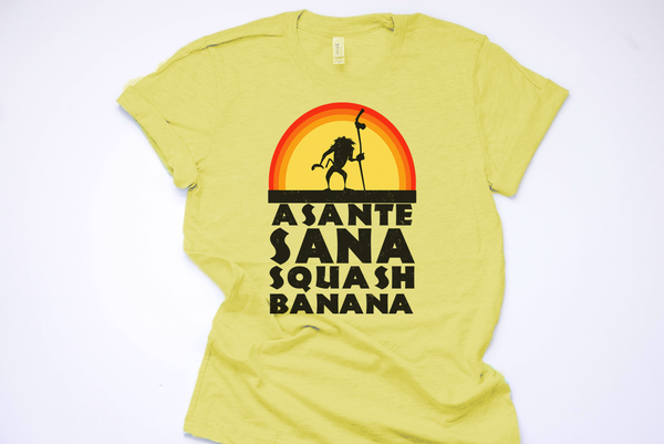 Asante Sana Squash Banana Unisex Tee - Crazy Corgi Lady Designs - Unique Disney Themed Shirts