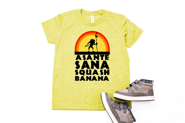 Asante Sana Squash Banana Youth T-Shirt - Crazy Corgi Lady Designs - Unique Disney Themed Shirts