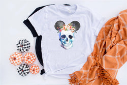 Skull Floral Crown Mickey Tee - Crazy Corgi Lady Designs - Unique Disney Themed Shirts