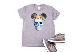 Skull Floral Crown Mickey Youth T-Shirt - Crazy Corgi Lady Designs - Unique Disney Themed Shirts
