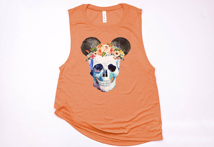 Skull Floral Crown Mickey Muscle Tank - Crazy Corgi Lady Designs - Unique Disney Themed Shirts