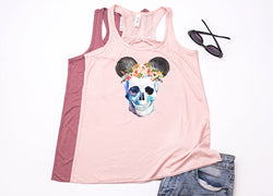 Skull Floral Crown Mickey Racerback Tank Top - Crazy Corgi Lady Designs - Unique Disney Themed Shirts