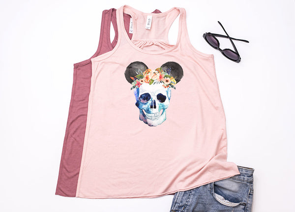 Skull Floral Crown Mickey Youth Racerback Tank Top - Crazy Corgi Lady Designs - Unique Disney Themed Shirts