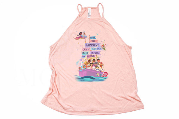 "It's A Small World  ""Happiest Cruise"" High Neck Tank - Crazy Corgi Lady Designs - Unique Disney Themed Shirts"
