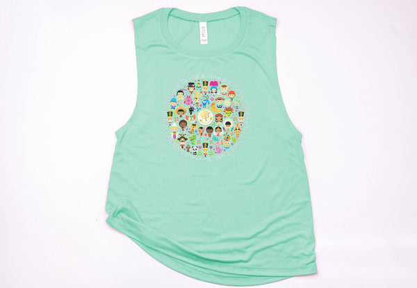 It's A Small World Circle Muscle Tank - Crazy Corgi Lady Designs