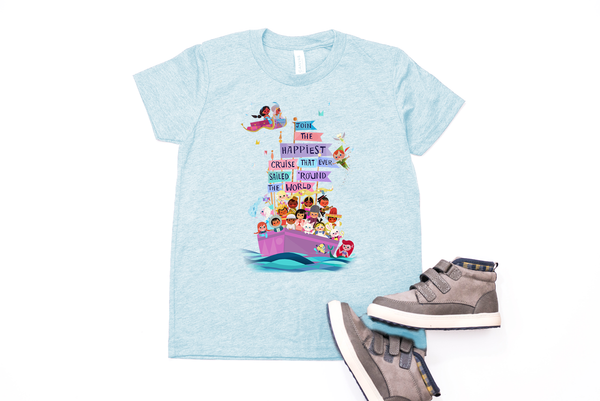 "It's A Small World ""Happiest Cruise"" Youth T-Shirt - Crazy Corgi Lady Designs - Unique Disney Themed Shirts"