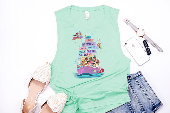 "It's A Small World ""Happiest Cruise"" Muscle Tank - Crazy Corgi Lady Designs"