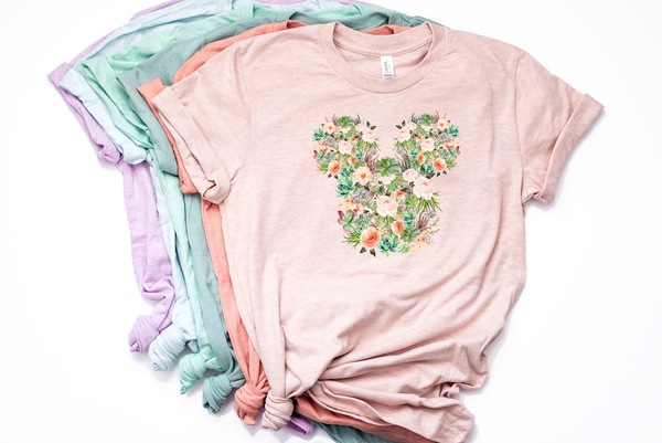 Succulent Floral Mickey Tee - Crazy Corgi Lady Designs - Unique Disney Themed Shirts