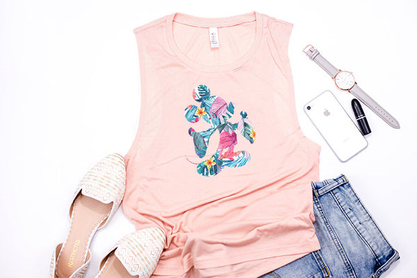 Tropical Floral Mickey Muscle Tank - Crazy Corgi Lady Designs