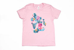 Tropical Floral Mickey Youth T-Shirt - Crazy Corgi Lady Designs - Unique Disney Themed Shirts