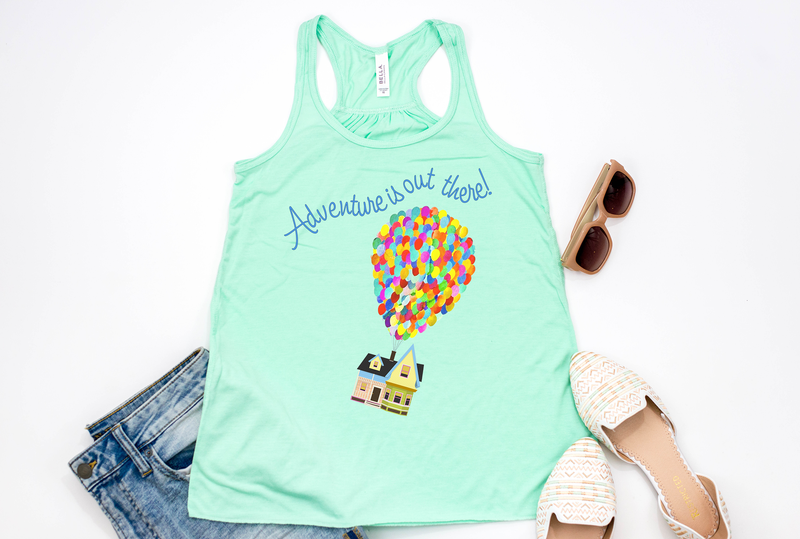 "Up! ""Adventure is out there"" Racerback Tank - Crazy Corgi Lady Designs"
