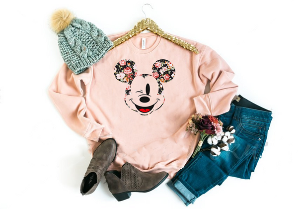 Winking Floral Mickey Sweatshirt - Crazy Corgi Lady Designs - Unique Disney Themed Shirts