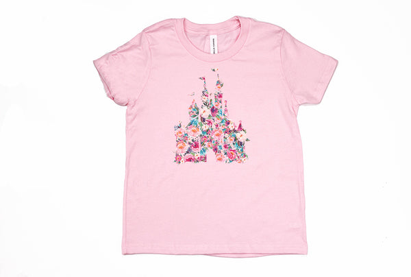 Floral Castle Youth T-Shirt - Crazy Corgi Lady Designs - Unique Disney Themed Shirts