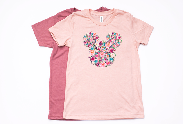 Floral Mickey Youth T-Shirt - Crazy Corgi Lady Designs - Unique Disney Themed Shirts