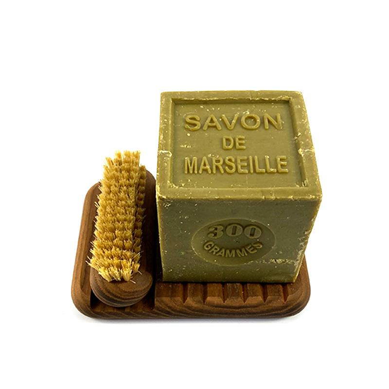 French Soap and wooden soap dish with matching nail brush - eku box