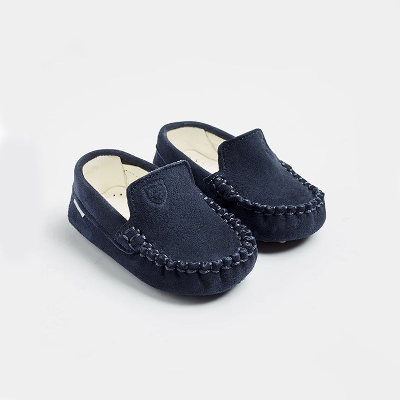 handmade baby shoes -navy blue - eku box