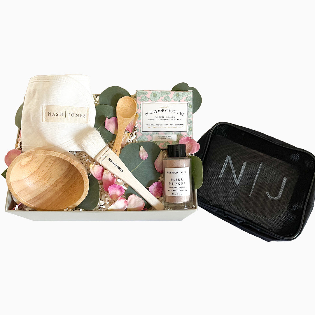 Friday Night Facial gift box with zip pouch for storage or travel - ekuBOX curated gift boxes - spa gift box