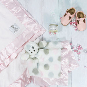 Luxe baby girl gift box Little Giraffe Lovey and blanket with leather Mary Jane shoes, booty balm and Sugarfina candy
