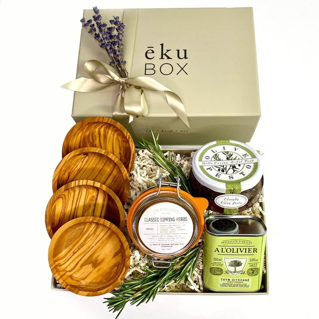 ekuBOX DIPPING SET WITH OLIVE WOOD DIPPING BOWLS - ekuBOX