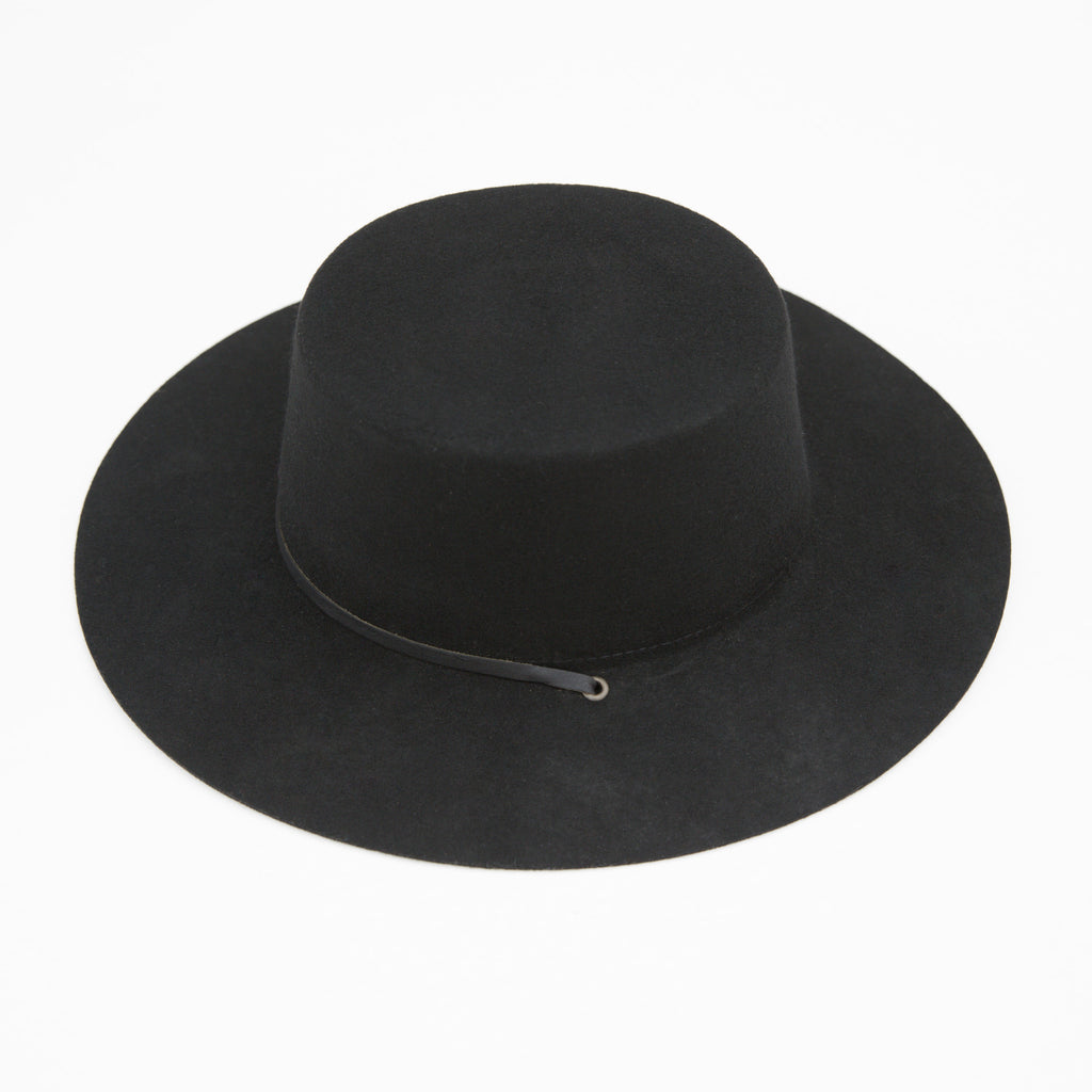 Benny Fedora - Black / Black leather