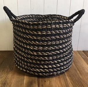 Black Striped Basket - Large