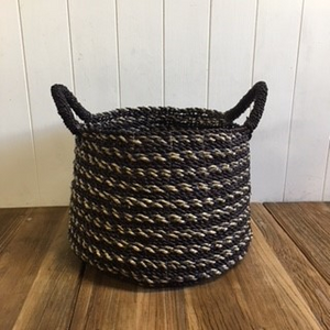 Black Striped Basket - Med