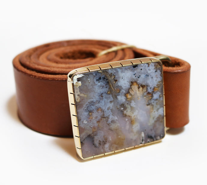 Plume Agate Belt Buckle